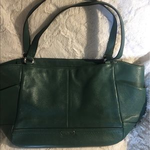 Authentic Pebbled Leather Green Coach